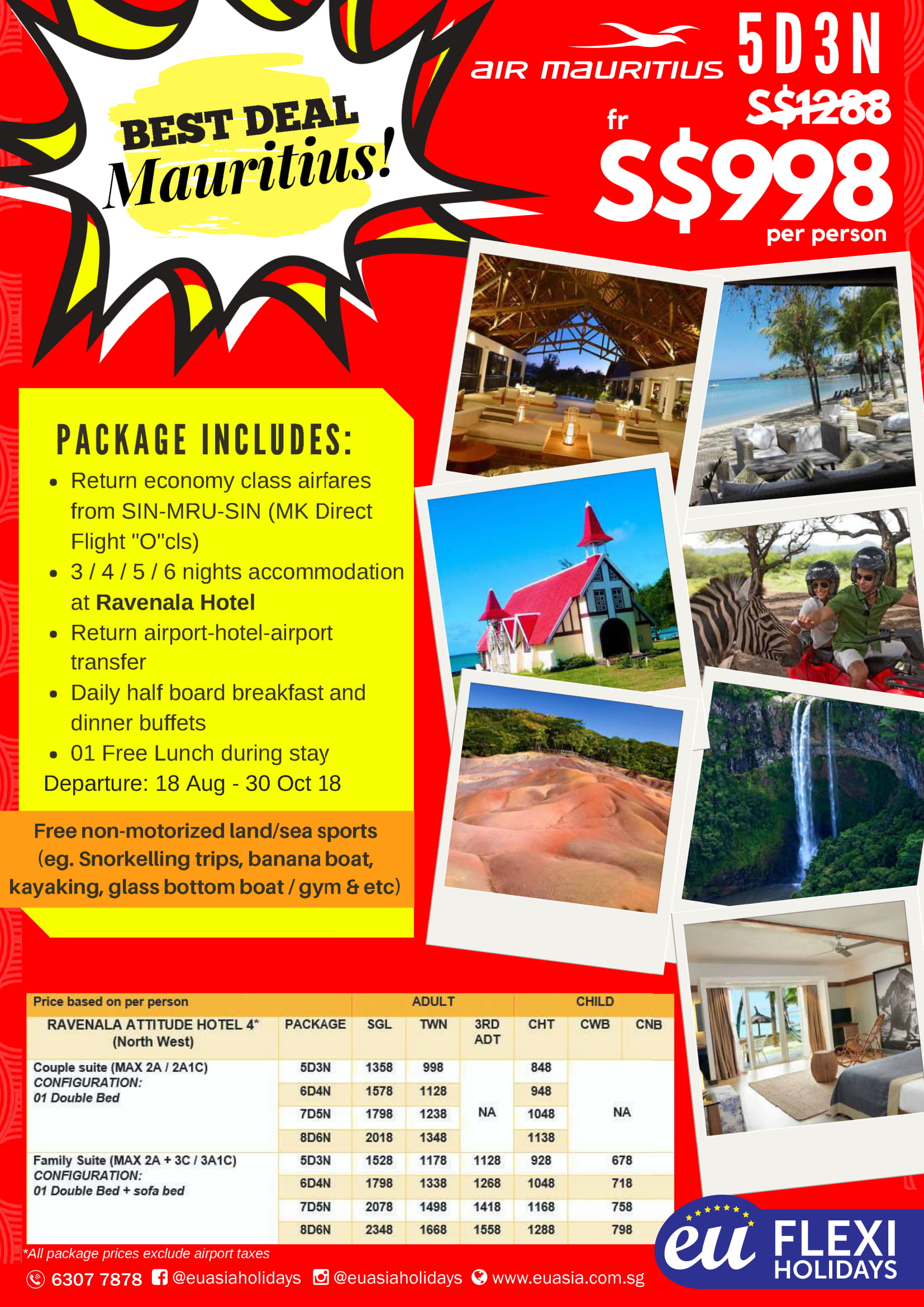 Mauritius tours from Singapore