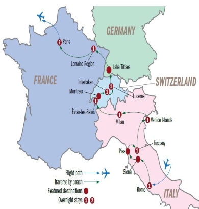 13D10N Italy, Switzerland and France Winter Tour